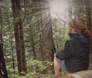 meditating in woods 2